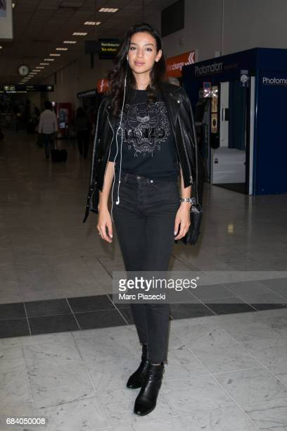 Model Soraya Azzabi arrives at Nice airport during the 70th annual Cannes Film Festival on May 17 2017 in Cannes France