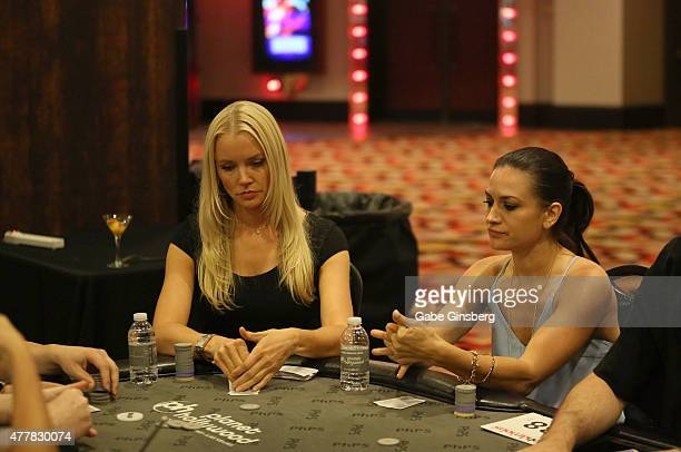 Model Stacy Fuson and actress Erin O'Brien compete in the Raising the Stakes for Cerebral Palsy Celebrity Poker Tournament at Planet Hollywood Resort...
