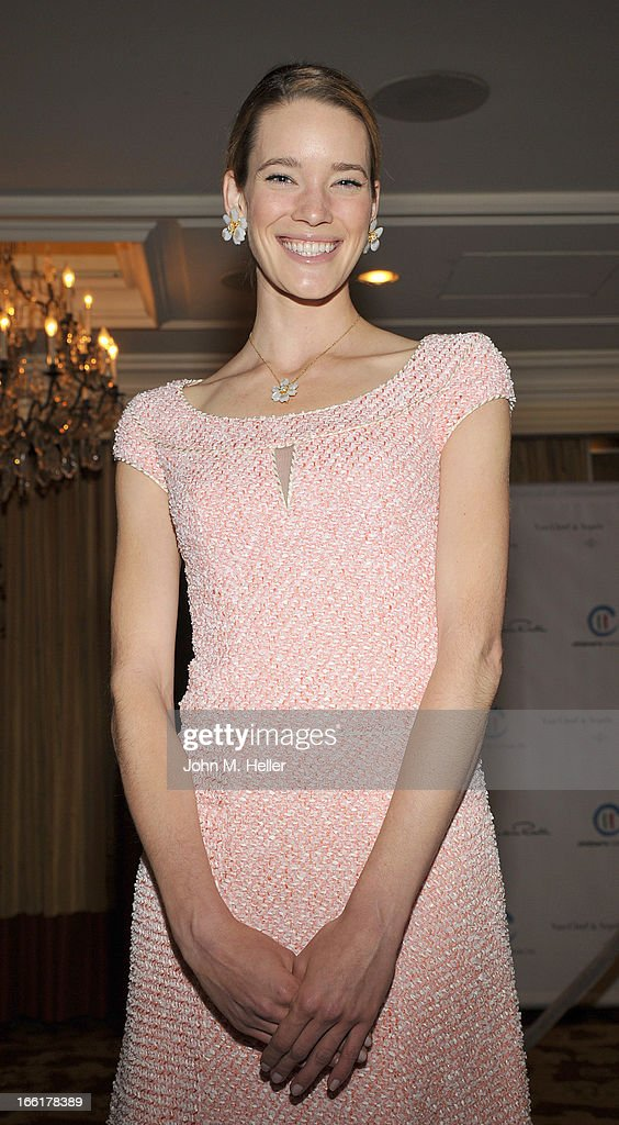 Model Stacy Lobb seen wearing an Oscar de la Renta dress at the 25th annual Colleagues Luncheon at the Beverly Wilshire Hotel on April 9, 2013 in Beverly Hills, California.