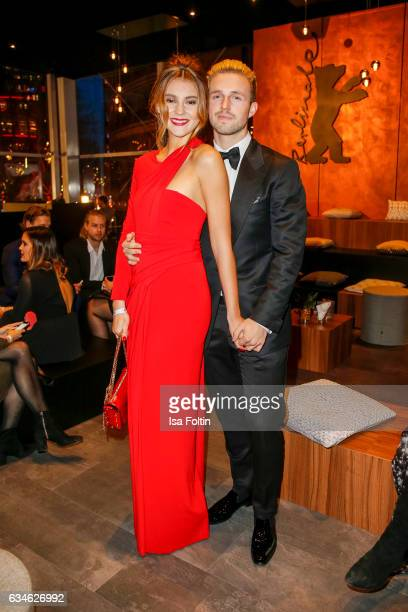 Model Stefanie Giesinger and her boyfriend Marcus Butler attend the Audi Lounge Night Audi At The 67th Berlinale International Film Festival on...