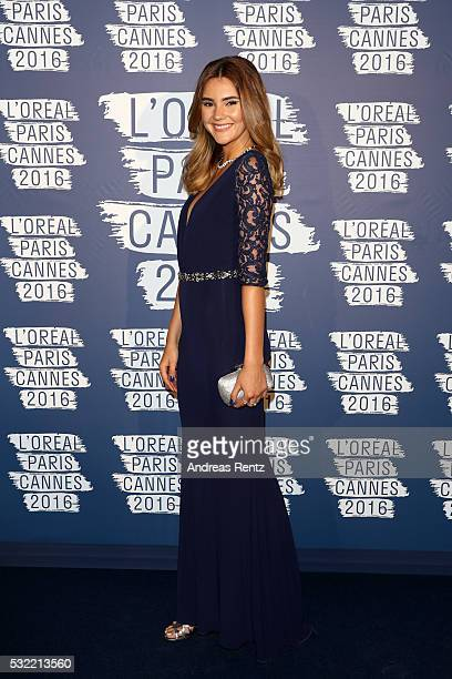 Model Stefanie Giesinger attends the L'Oreal Paris Blue Obsession Party at the annual 69th Cannes Film Festival at Hotel Martinez on May 18 2016 in...