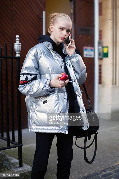 Model Stella Lucia exits the JW Anderson show in a DKNY jacket at a Yeomanry House during London Fashion Week Fall/Winter 2015/16 on February 21 2015...