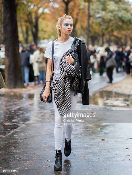 Model Stella Maxwell after Chanel during the Paris Fashion Week Womenswear Spring/Summer 2016 on Oktober 6 2015 in Paris France