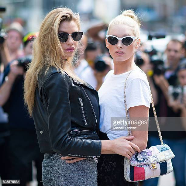 Model Stella Maxwell and Elsa Hosk are seen in Midtown on September 12 2016 in New York City