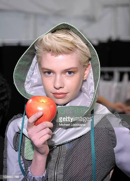 Model Stella Maxwell backstage at the Concept Korea Spring 2011 fashion show during MercedesBenz Fashion Week at The Theater at Lincoln Center on...