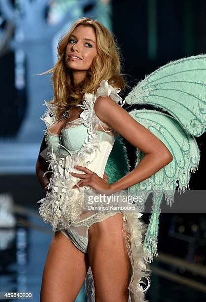Model Stella Maxwell walks the runway during the 2014 Victoria's Secret Fashion Show at Earl's Court Exhibition Centre on December 2 2014 in London...