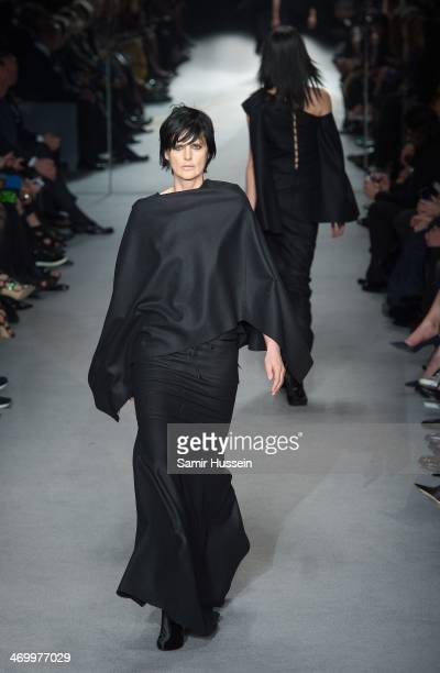 Model Stella Tennant` walks the runway at the TOM FORD show at The Lindley Hall during London Fashion Week AW14 on February 17 2014 in London England