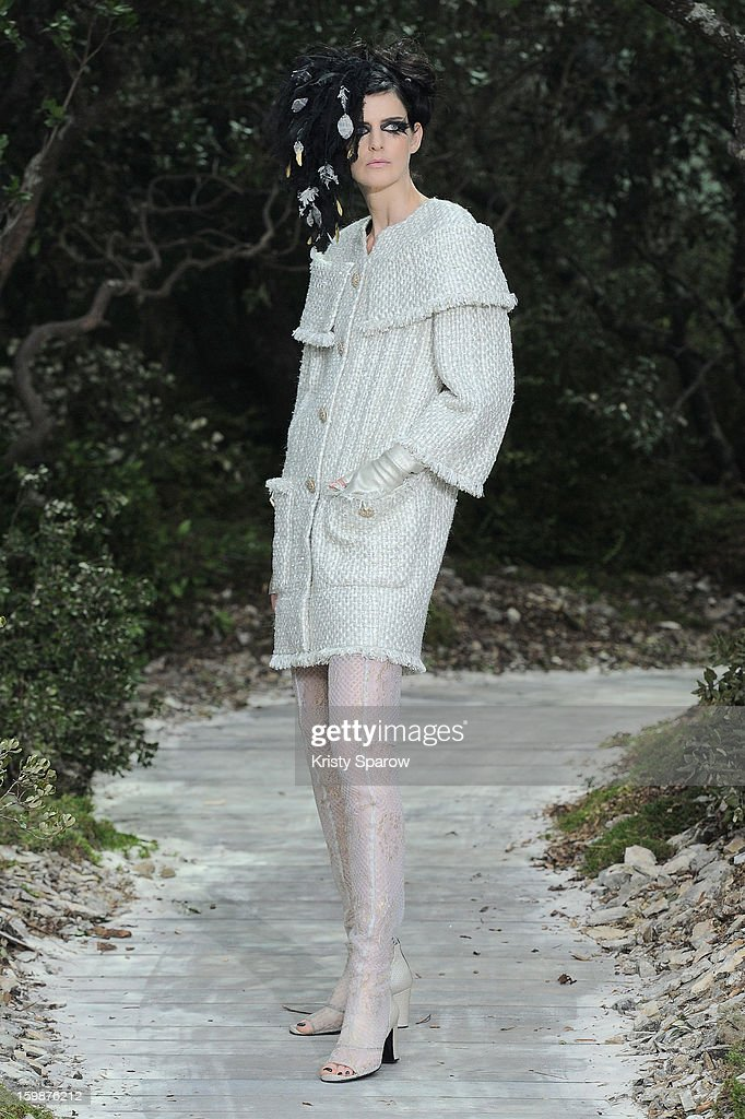 Model Stella Tennant walks the runway during the Chanel Spring/Summer 2013 Haute-Couture show as part of Paris Fashion Week at Grand Palais on January 22, 2013 in Paris, France.
