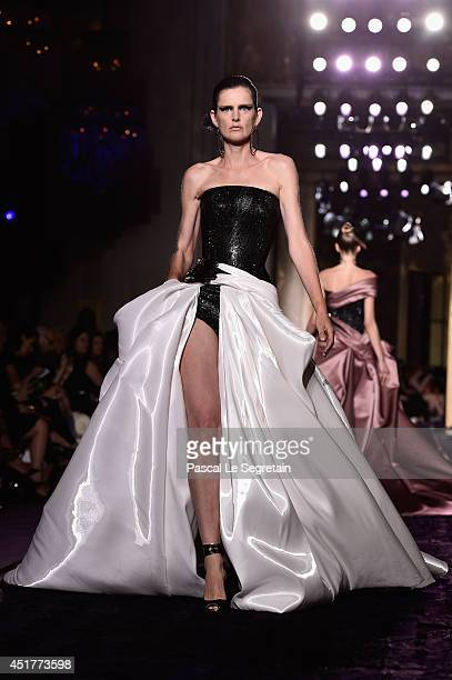 Model Stella Tennant walks the runway during the Versace show as part of Paris Fashion Week Haute Couture Fall/Winter 20142015 on July 6 2014 in...