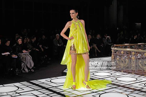 Model Stella Tennant walks the runway during the Versace Spring/Summer 2013 HauteCouture show as part of Paris Fashion Week at Le Centorial on...