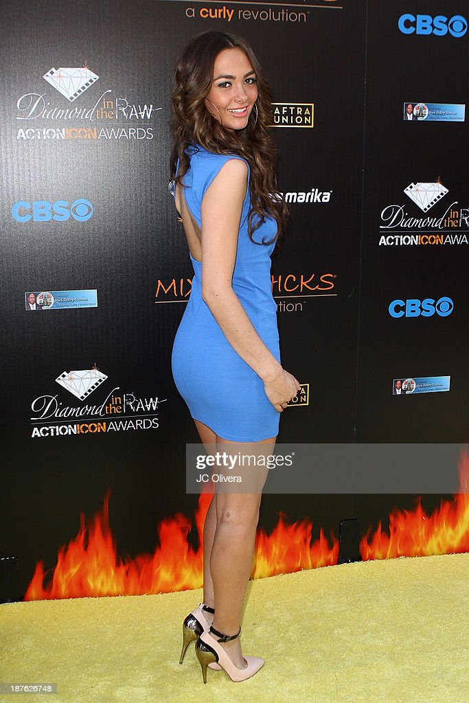 Model Stephanie Murone attends The 6th Annual Diamond In The RAW-Action Icon Awards at Skirball Cultural Center on November 10, 2013 in Los Angeles, California.