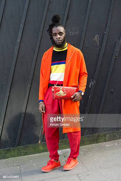 Model Stylist and dancer Romario Chevoy wearing a Vivienne Westwood bag Oh my love London jacket cow vintage sweater vintage trousers and Top shop...
