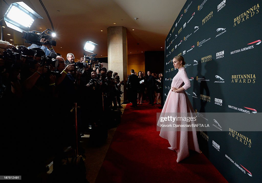 Model <a gi-track='captionPersonalityLinkClicked' href=/galleries/search?phrase=Suki+Waterhouse&family=editorial&specificpeople=7591336 ng-click='$event.stopPropagation()'>Suki Waterhouse</a> attends the 2013 BAFTA LA Jaguar Britannia Awards presented by BBC America at The Beverly Hilton Hotel on November 9, 2013 in Beverly Hills, California.