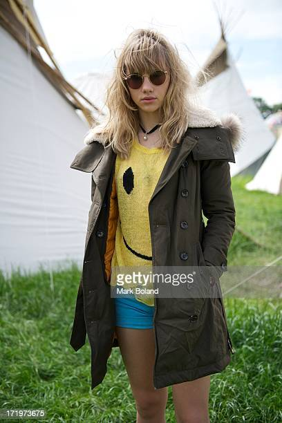 Model Suki Waterhouse is pictured during day 4 of the 2013 Glastonbury Festival at Worthy Farm on June 30 2013 in Glastonbury England