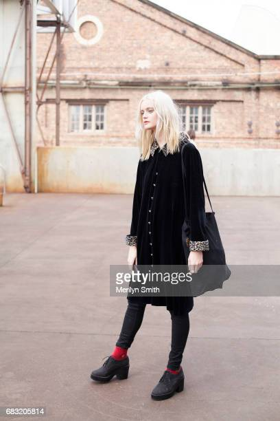 Model Sydney Barber is wearing all vintage during MercedesBenz Fashion Week Resort 18 Collections at Carriageworks on May 15 2017 in Sydney Australia