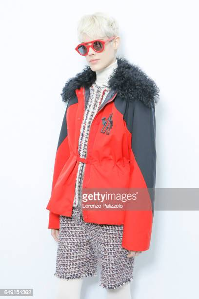A model Taja Feistner is seen backstage before the Moncler Gamme Rouge show as part of the Paris Fashion Week Womenswear Fall/Winter 2017/2018 on...