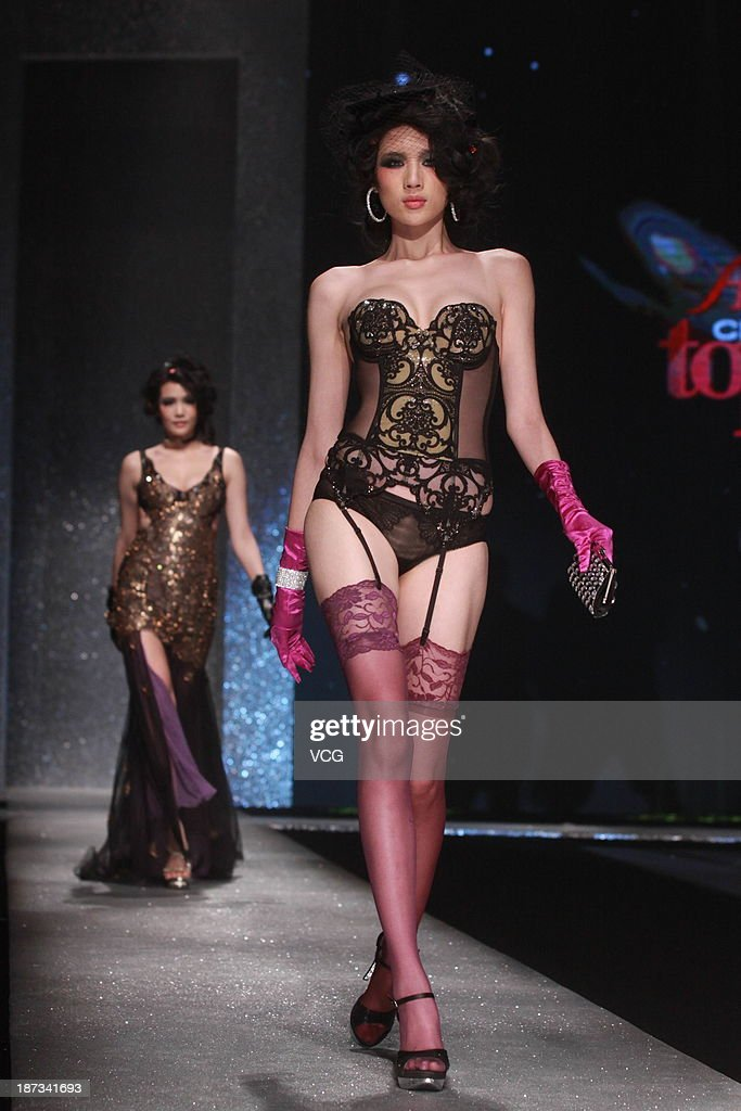 A model takes part in the Aimer China's Next Top Model Contest at China World Summit Wing on November 7, 2013 in Beijing, China.