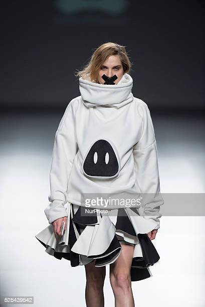 A model takes the catwalk during Maria Magdalena the fashion show of the collection 'EGO during the Madrid's MercedesBenz Fashion Week held in Madrid...
