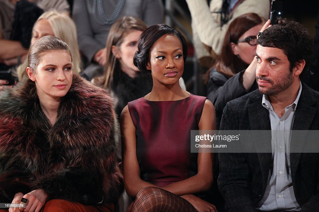 Model Tali Lennox (L) and actress Nichole Galicia (C) attend the Philosophy By Natalie Ratabesi fall 2013 fashion show during Mercedes-Benz Fashion Week at Roseland Ballroom on February 13, 2013 in New York City.
