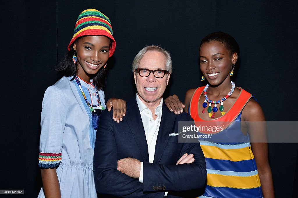 Model Tami Williams designer Tommy Hilfiger and model Kai Newman pose backstage at Tommy Hilfiger Women's Spring 2016 during New York Fashion Week...