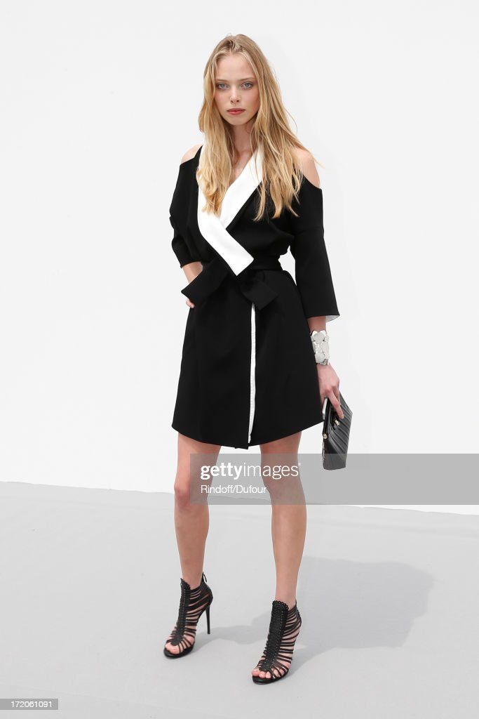 Model <a gi-track='captionPersonalityLinkClicked' href=/galleries/search?phrase=Tanya+Dziahileva&family=editorial&specificpeople=4384399 ng-click='$event.stopPropagation()'>Tanya Dziahileva</a> arriving at the Christian Dior show as part of Paris Fashion Week Haute-Couture Fall/Winter 2013-2014 at on July 1, 2013 in Paris, France.