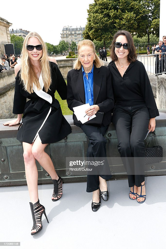 Model Tanya Dziahileva, Doris Brynner and Guest arriving at the Christian Dior show as part of Paris Fashion Week Haute-Couture Fall/Winter 2013-2014 at on July 1, 2013 in Paris, France.