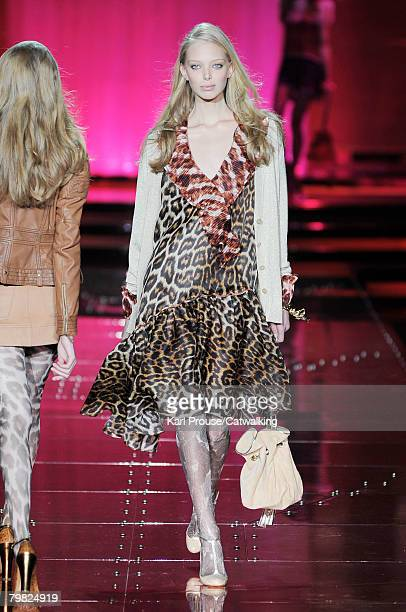 Model Tanya Dziahileva walks the runway wearing the Just Cavalli Fall/Winter 2008/2009 collection during Milan Fashion Week on the 17th of February...