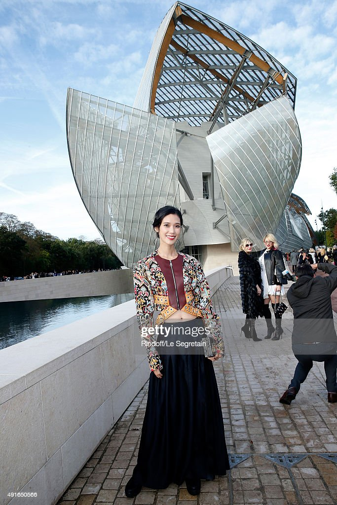 Model Tao Okamoto attends the Louis Vuitton show as part of the Paris Fashion Week Womenswear Spring/Summer 2016 Held at Fondation Louis Vuitton on...