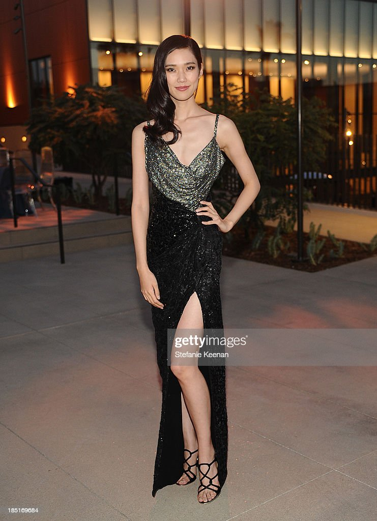 Model Tao Okamoto attends the Wallis Annenberg Center for the Performing Arts Inaugural Gala presented by Salvatore Ferragamo at the Wallis Annenberg Center for the Performing Arts on October 17, 2013 in Beverly Hills, California.