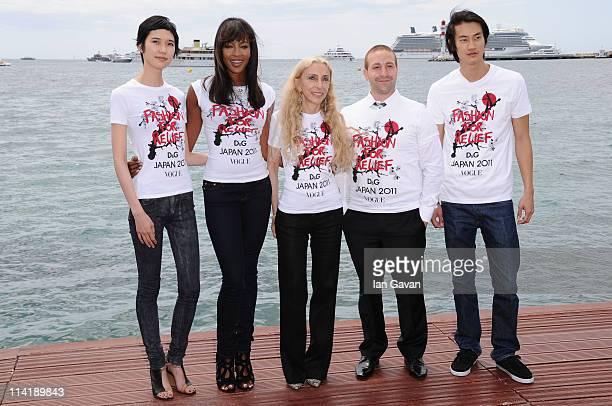 Model Tao Okamoto model Naomi Campbell Editor inchief of Vogue Italy Franca Sozzani Head of Campaigns for the Red Cross Zach Abraham and model Philip...