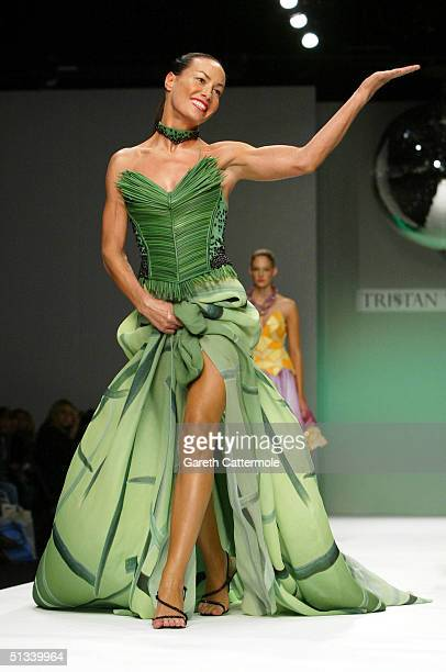 Model Tara Palmer Tompkinson walks down the runway at the Tristan Webber fashion show as part of London Fashion Week Spring/Summer 2005 at the BFC...