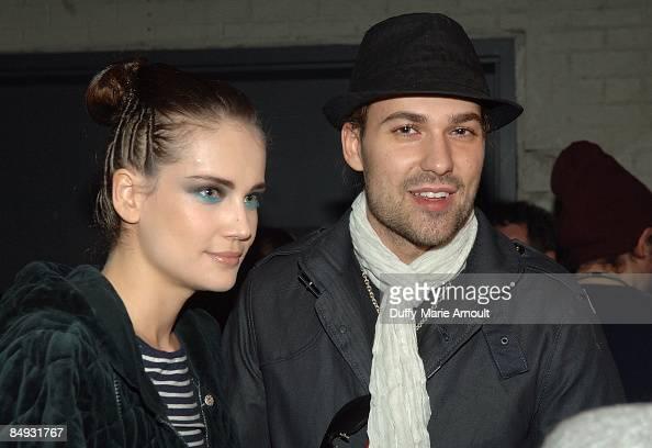 Model Tatiana Gellert and Violinist David Garrett attend Unrath Strano Fall 2009 during MercedesBenz Fashion Week at Eyebeam on February 19 2009 in...