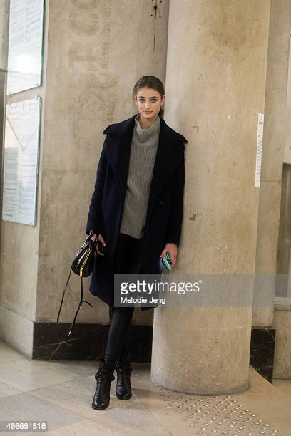 Model Taylor Hill exits Viktor Rolf at Grand Palais wearing Acne Studios on Day 4 of Paris Haute Couture Fashion Week Spring/Summer 2015 on January...