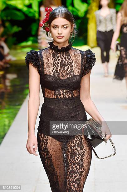 Model Taylor Hill walks the runway at the Dolce Gabbana Spring Summer 2017 fashion show during Milan Fashion Week on September 25 2016 in Milan Italy