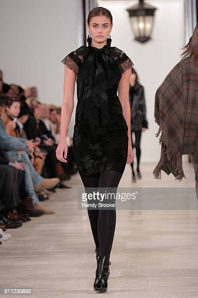 Model Taylor Hill walks the runway at the Ralph Lauren Fall 2016 show during New York Fashion Week at Skylight Clarkson Sq on February 18 2016 in New...