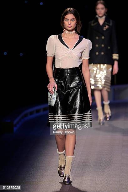 Model Taylor Hill walks the runway during the Tommy Hilfiger Women's runway show during Fall 2016 New York Fashion Week at Park Avenue Armory on...