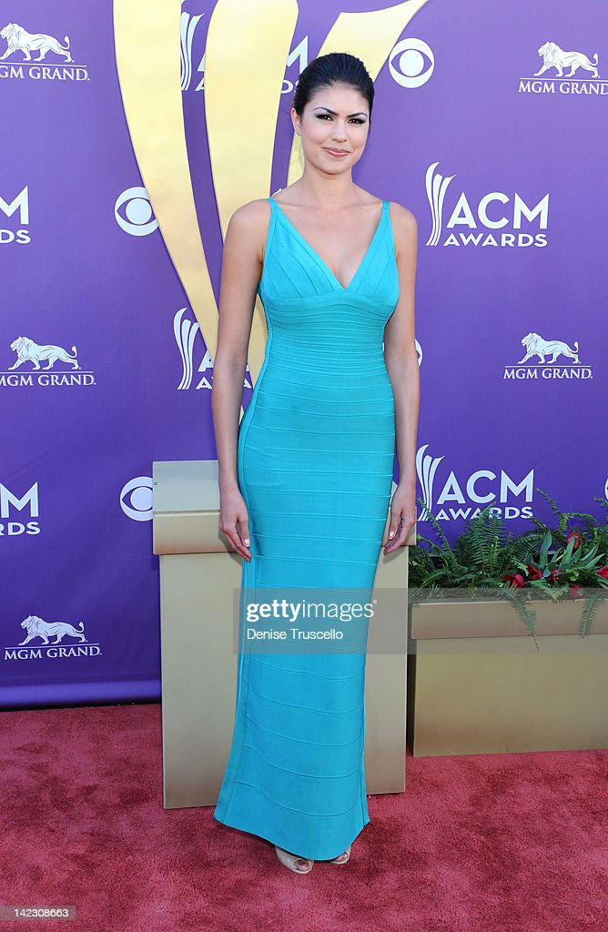 Model Taylor Makakoa arrives at the 47th Annual Academy Of Country Music Awards held at the MGM Grand Garden Arena on April 1, 2012 in Las Vegas, Nevada.