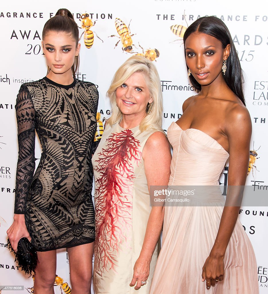 Model Taylor Marie Hill Victoria's Secret president and CEO Sharen Turney and model Jasmine Tookes attend 2015 Fragrance Foundation Awards at Alice...