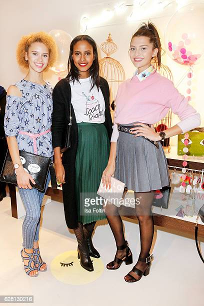 Model Taynara Wolf model Sara Nuru and model Fata Hasanovic attend the Iphoria store opening on December 6 2016 in Berlin Germany