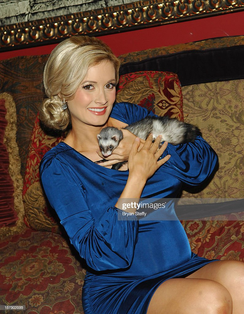 Model & television personality <a gi-track='captionPersonalityLinkClicked' href=/galleries/search?phrase=Holly+Madison&family=editorial&specificpeople=227275 ng-click='$event.stopPropagation()'>Holly Madison</a> appears with her ferret Sid at the Animal Foundation's Shelter Elves kick off celebration at the House of Blues Foundation Room inside the Mandalay Bay Resort & Casino on December 1, 2012 in Las Vegas, Nevada.