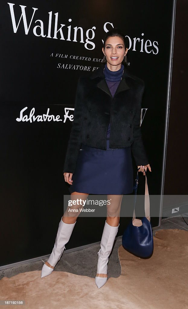 Model Teresa Moore wears Ferragamo Fall/Winter Collection during Ferragamo and Stefano Tonchi Present A VIP Screening of Premier Film Walking Stories on November 6, 2013 in New York City.