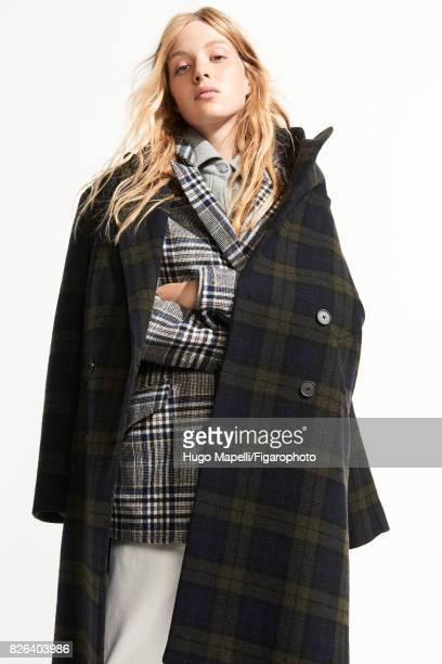 Model poses at a fashion shoot for Madame Figaro on June 30 2017 in Paris France Coat jacket shirt jeans CREDIT MUST READ Hugo...
