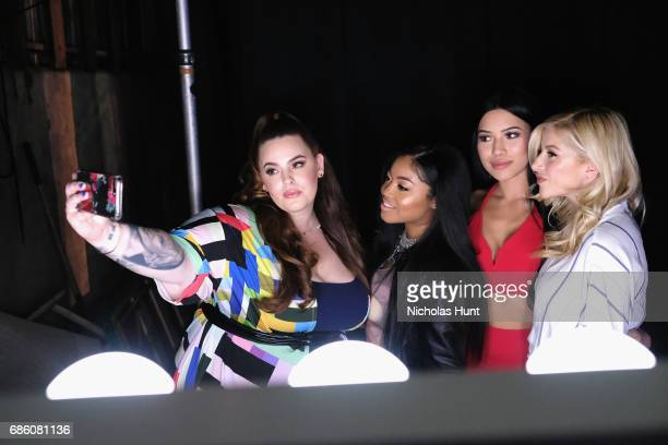 Model Tess Holiday Influencer Destiny Jones Actress Julia Kelly and Influencer Evelina pose for a selfie during the Beautycon Festival NYC 2017 on at...