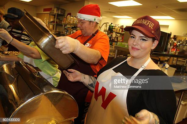 Model Tess Holliday volunteers at Downtown Women's Center on December 24 2015 in Los Angeles California