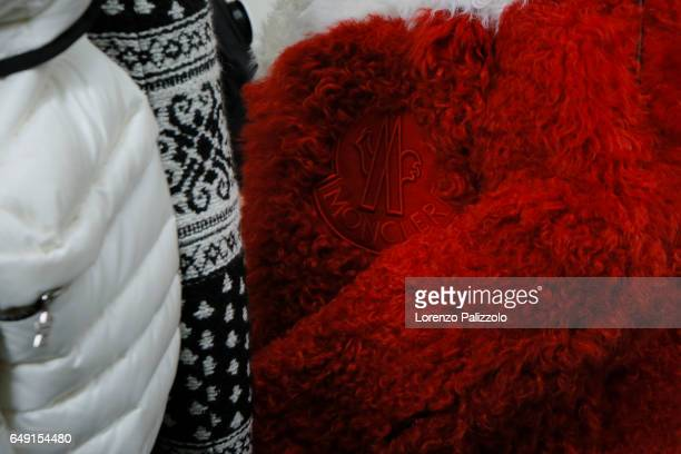 A model textile detail is seen backstage before the Moncler Gamme Rouge show as part of the Paris Fashion Week Womenswear Fall/Winter 2017/2018 on...