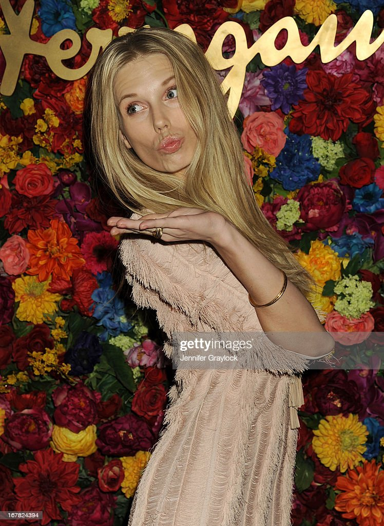 Model Theodora Richards attends the Ferragamo Celebrates The Launch Of L'Icona Highlighting The 35th Anniversary Of Vara at The McKittrick Hotel, Home of Sleep No More on April 30, 2013 in New York City.