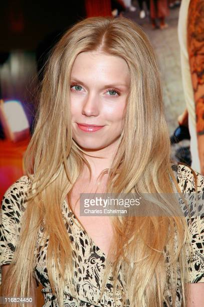 Model Theodora Richards attends Vladimir RestoinRoitfeld's presentation of work by David Mushegain Salim Langatta and PC Valmorbida at Collective...