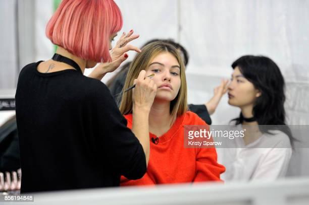 Model Thylane Blondeau prepares backstage prior Le Defile L'Oreal Paris as part of Paris Fashion Week Womenswear Spring/Summer 2018 at Avenue Des...