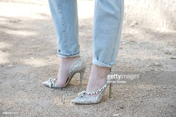 Model Tiffany Cheneg wears Closed jeans and Dsquared shoes on day 5 during Paris Fashion Week Spring/Summer 2016/17 on October 3 2015 in Paris France
