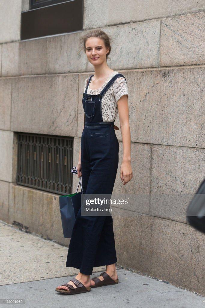 Model Tilda Lindstam wears Birkenstock sandals on Day 5 of New York Fashion Week Spring/Summer 2015 on September 8 2014 in New York City